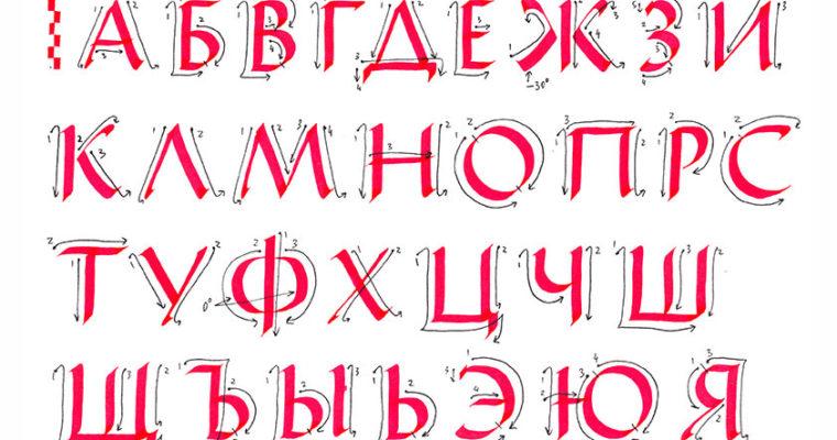 Схема построения букв капитального шрифта, кириллица